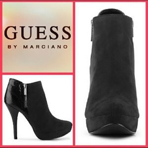 """GUESS """"Newport"""" Black Ankle Boots/Heels (Size 7.5)"""